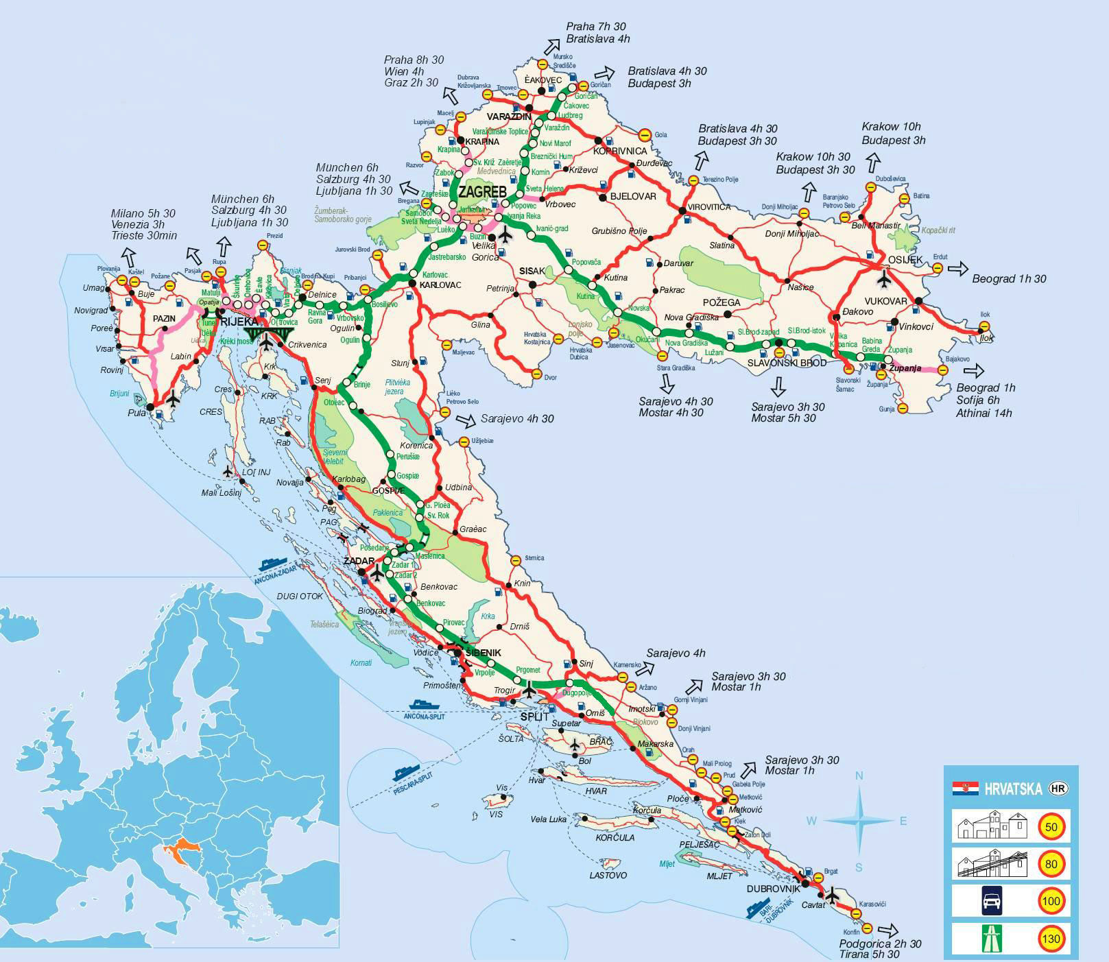 detailed road map of croatia croatia detailed road map maps of all countries in. Black Bedroom Furniture Sets. Home Design Ideas