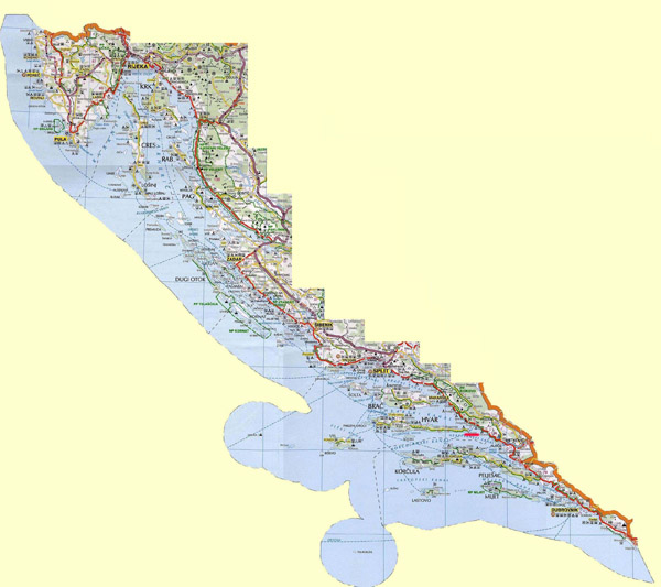 Detailed road map of the Croatian coast.