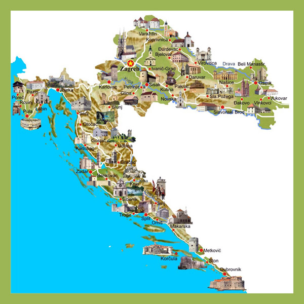 Detailed tourist map of Croatia. Croatia detailed tourist map.