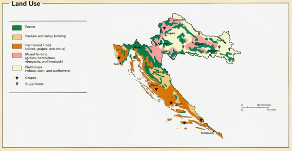 Land use map of the Croatia. Croatia land use map.