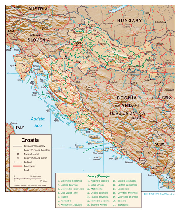Large detailed political and administrative map of Croatia with relief, roads and major cities - 2001.