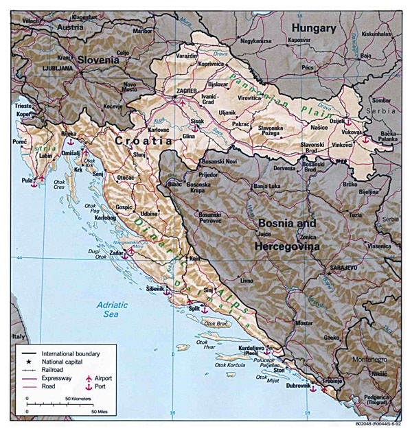 Croatia large detailed political map with relief, roads, major cities, airports and sea ports - 1992.