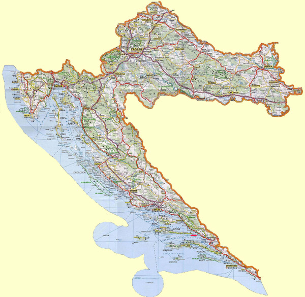 Large detailed road map of Croatia.