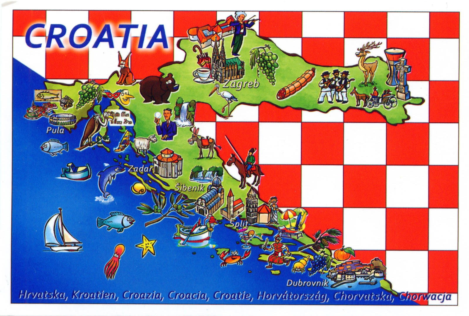 Large detailed tourist illustrated map of Croatia Croatia large
