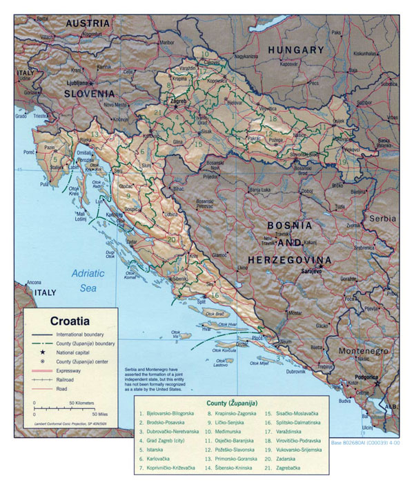 Large political and administrative map of Croatia with relief, roads and major cities - 2000.