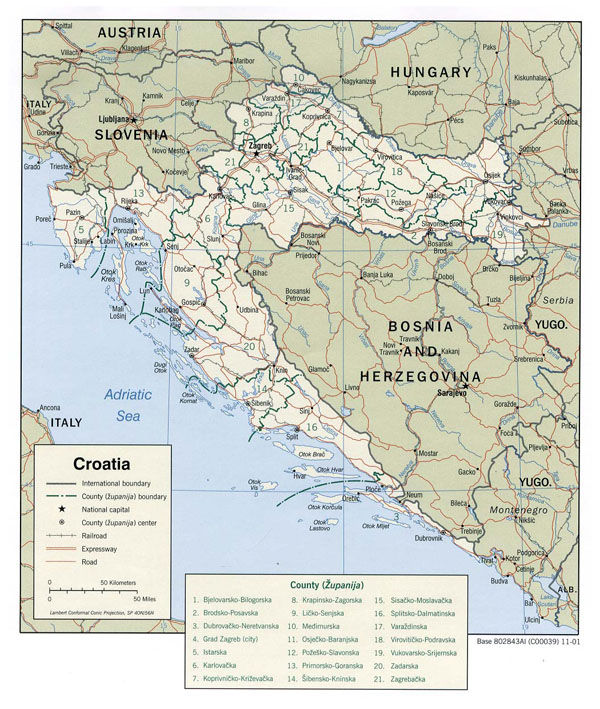 Large political and administrative map of Croatia with roads and major cities - 2001.