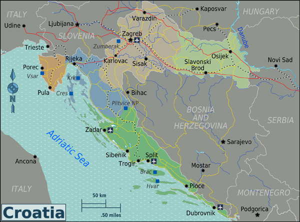Large regions map of Croatia. Croatia large regions map.