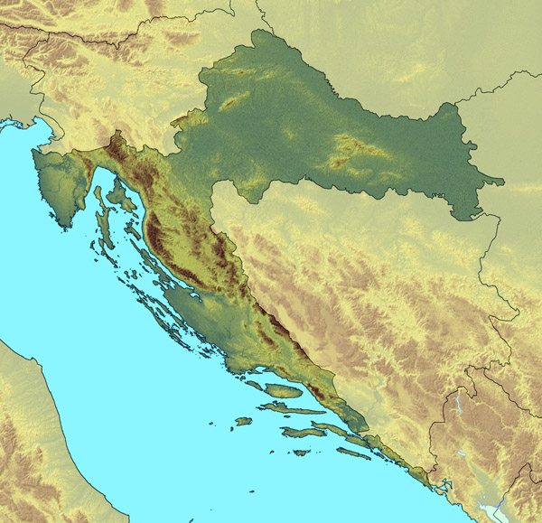 Large relief map of Croatia. Croatia large relief map.