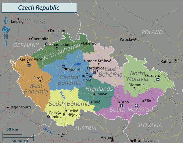 Administrative map of Czech Republic. Czech Republic administrative map.