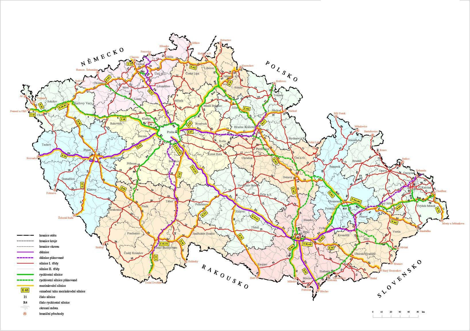 Detailed road map of Czech Republic Czech Republic detailed road