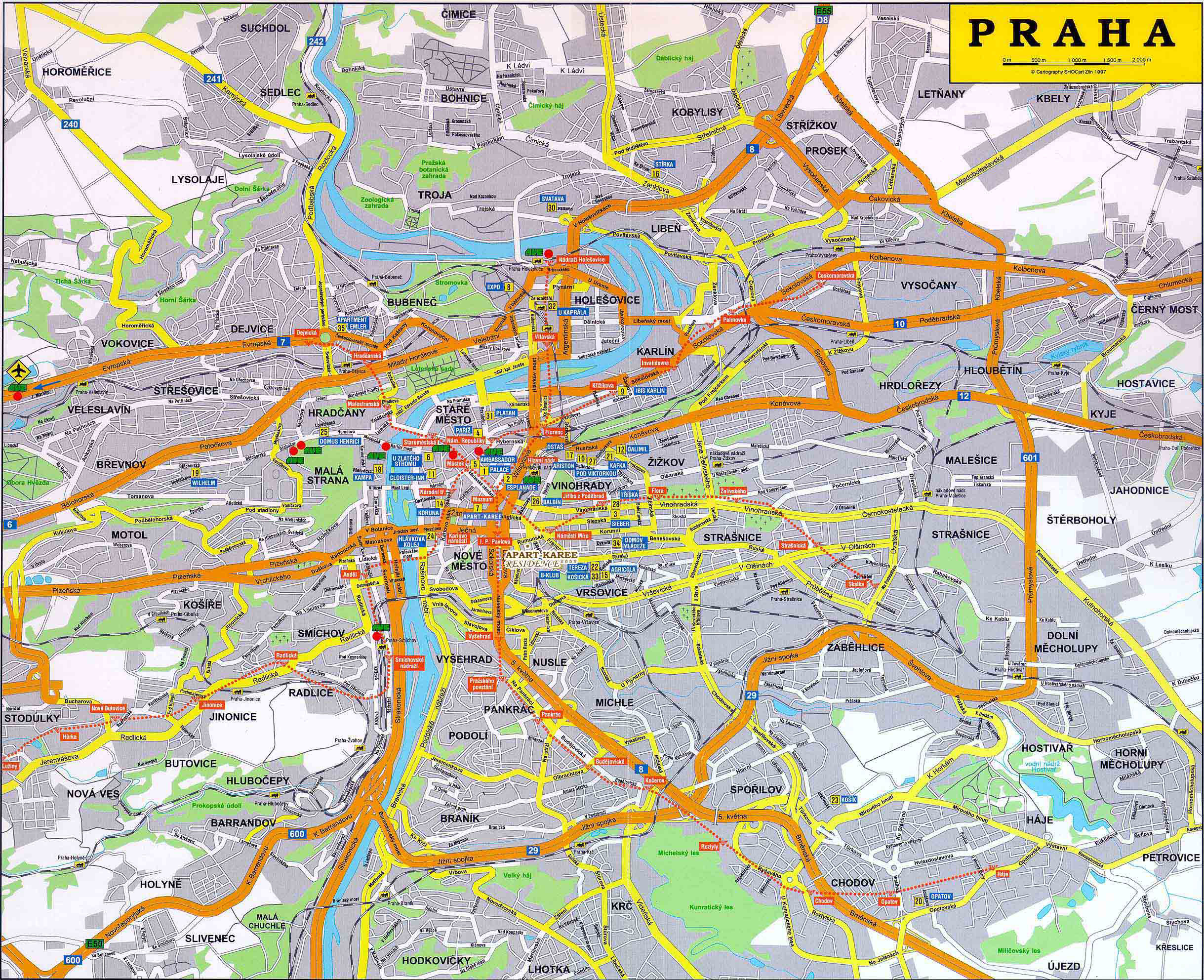 Detailed road map of praha city prague city detailed road map