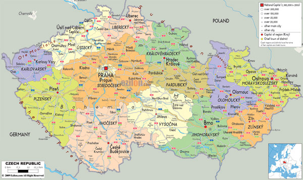 Large detailed administrative map of Czech Republic with all roads, cities and airports.