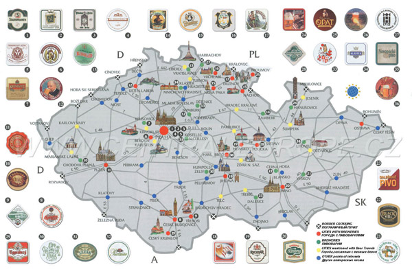 Large detailed beer map of Czech Republic.