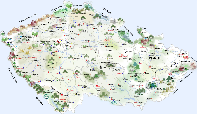 Large detailed castle map of Czech Republic Czech Republic large