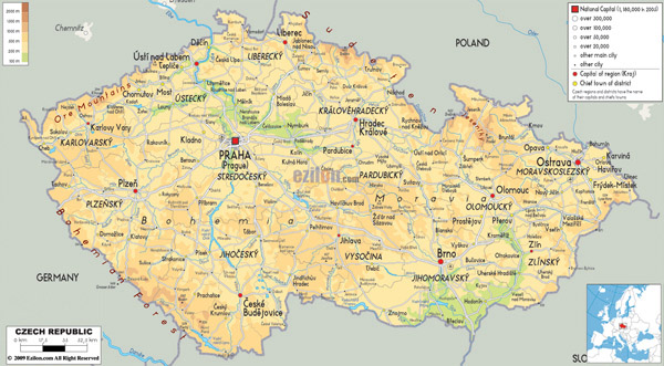 Large detailed physical map of Czech Republic with all roads, cities and airports