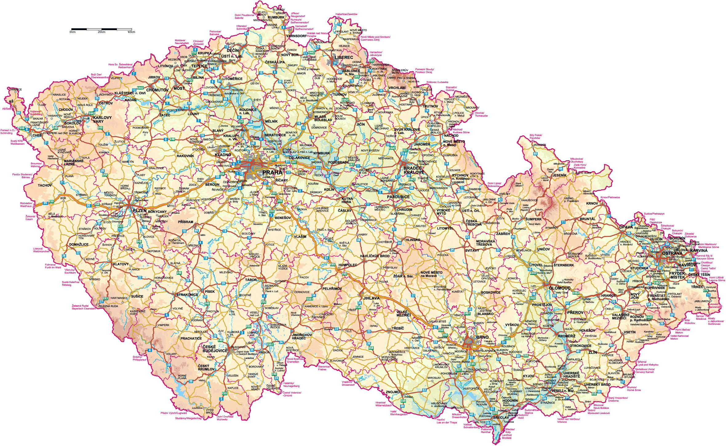 As Czech Republic  city photos : ... .comLarge detailed road and physical map of Czech Republic with all