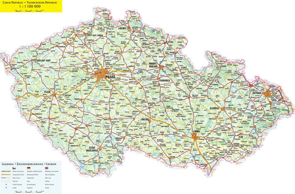 Large detailed road map of Czech Republic with all cities.