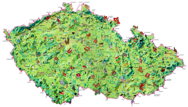 Large detailed tourist map of Czech Republic.