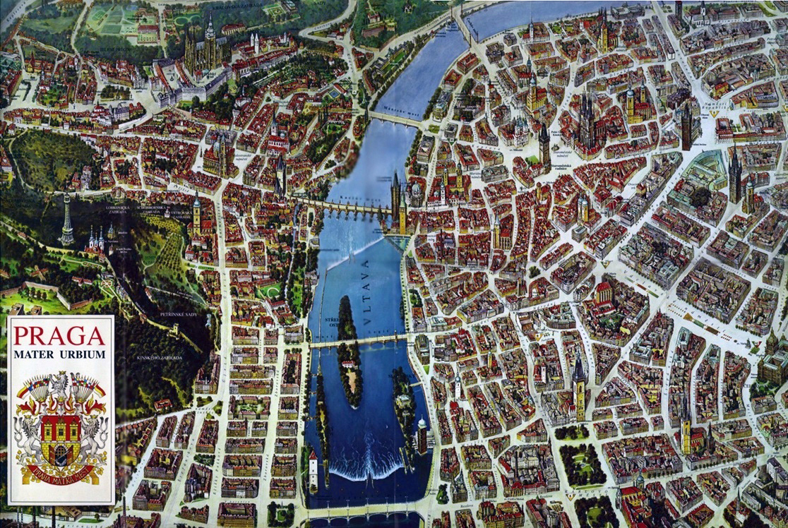 Detailed panoramic map of Prague city Prague city detailed – Prague Tourist Map