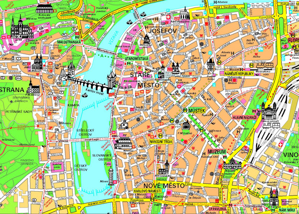 Detailed tourist map of Prague city center. Prague city center detailed tourist map.