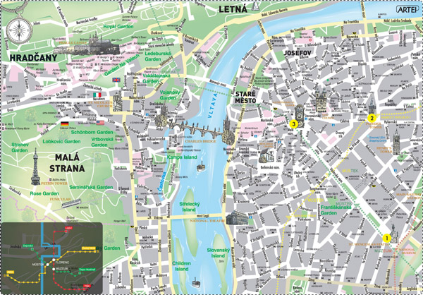 Large detailed historical map of Prague city.