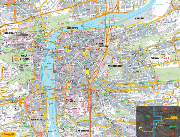 Large detailed road map with all the sights of Prague city.