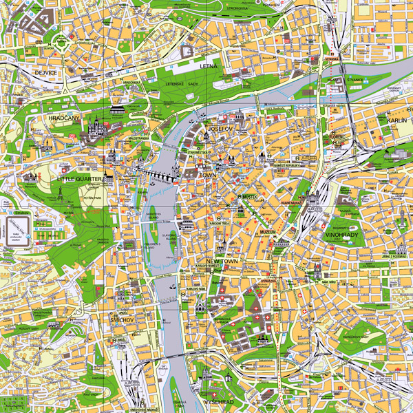 Large detailed tourist map of Prague city center.