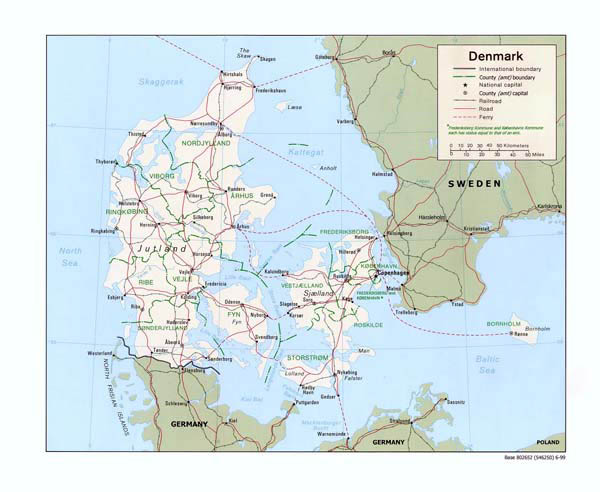 Administrative map of Denmark. Denmark administrative map.