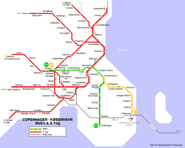 Detailed metro map of Copenhagen city.