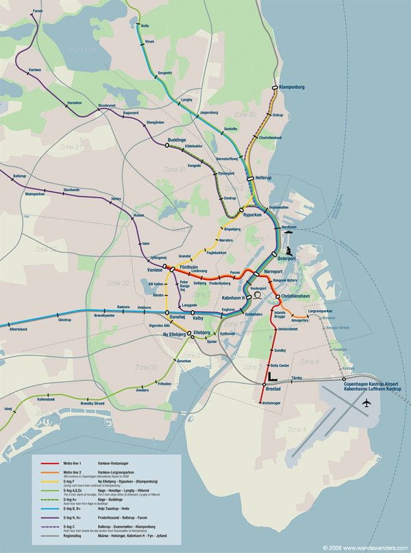 Large detailed metro map of Copenhagen city.