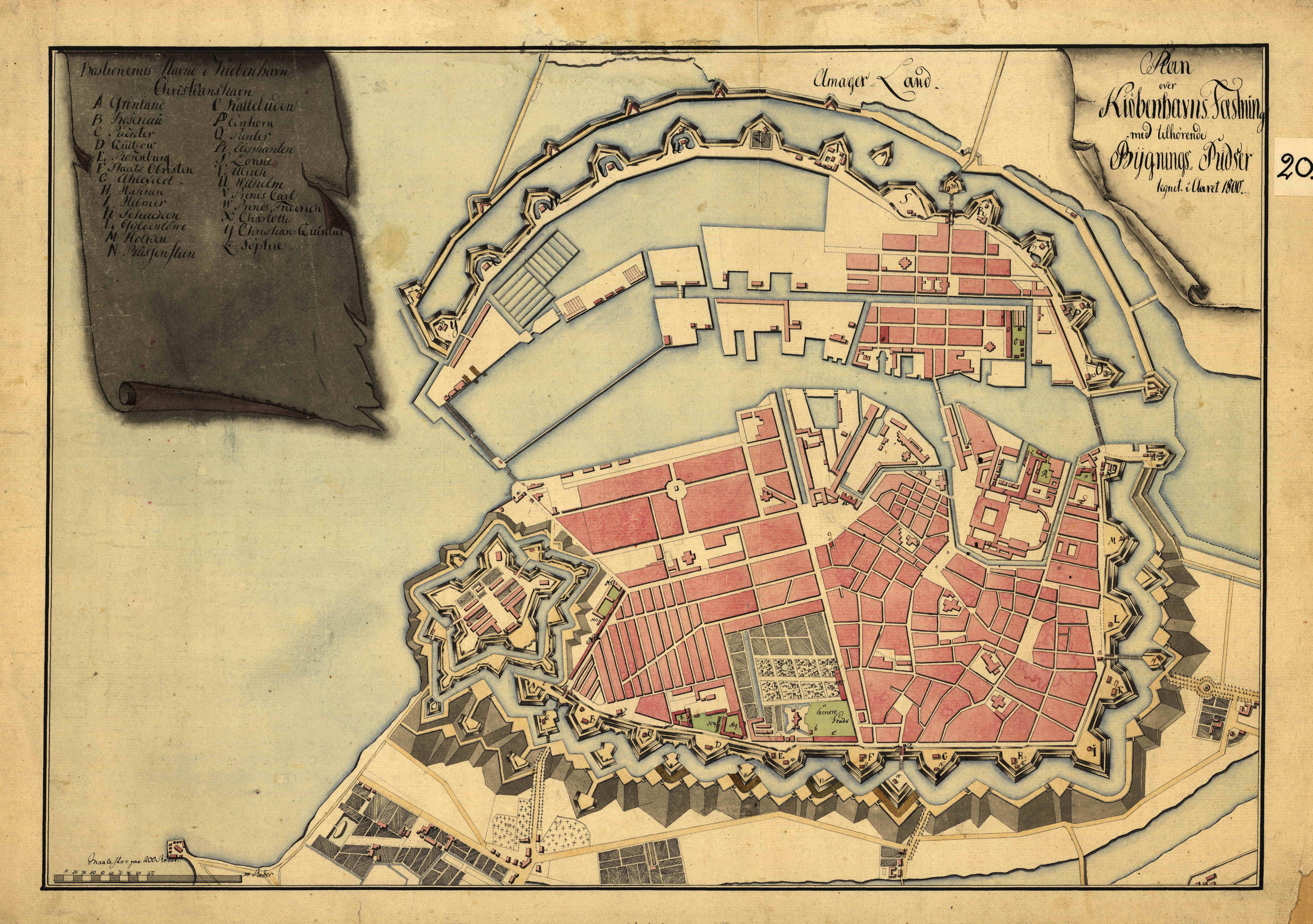 large detailed old map of copenhagen city 1800 copenhagen city