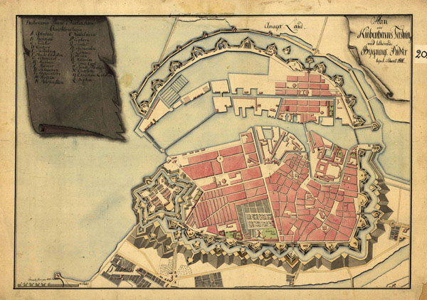 Large detailed old map of Copenhagen city 1800.