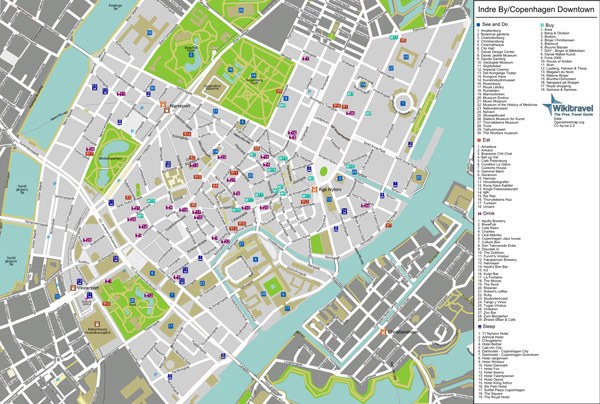 Large detailed tourist map of Copenhagen city center.