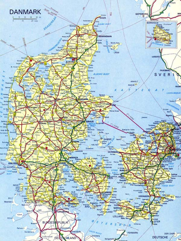 Detailed road map of Denmark. Denmark detailed road map.