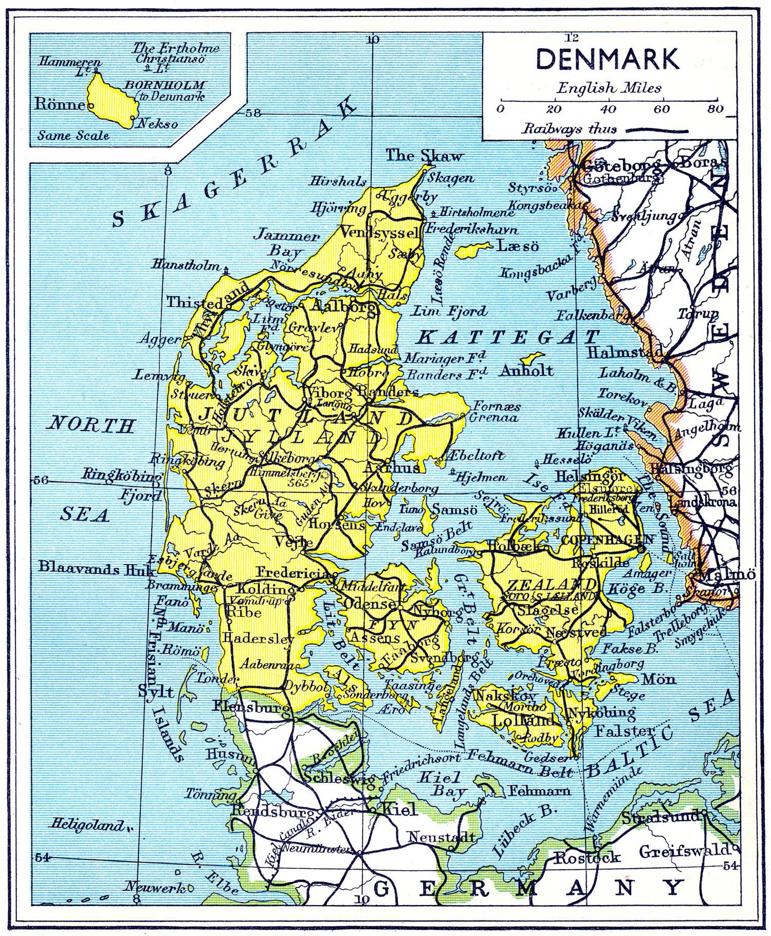 large detailed old road map of denmark 1941 denmark large