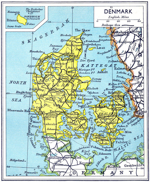 Large detailed old road map of Denmark 1941.