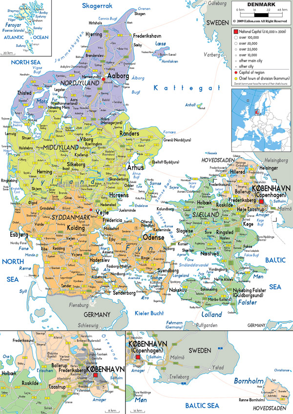 Large detailed political and administrative map of Denmark with all roads, cities and airports.