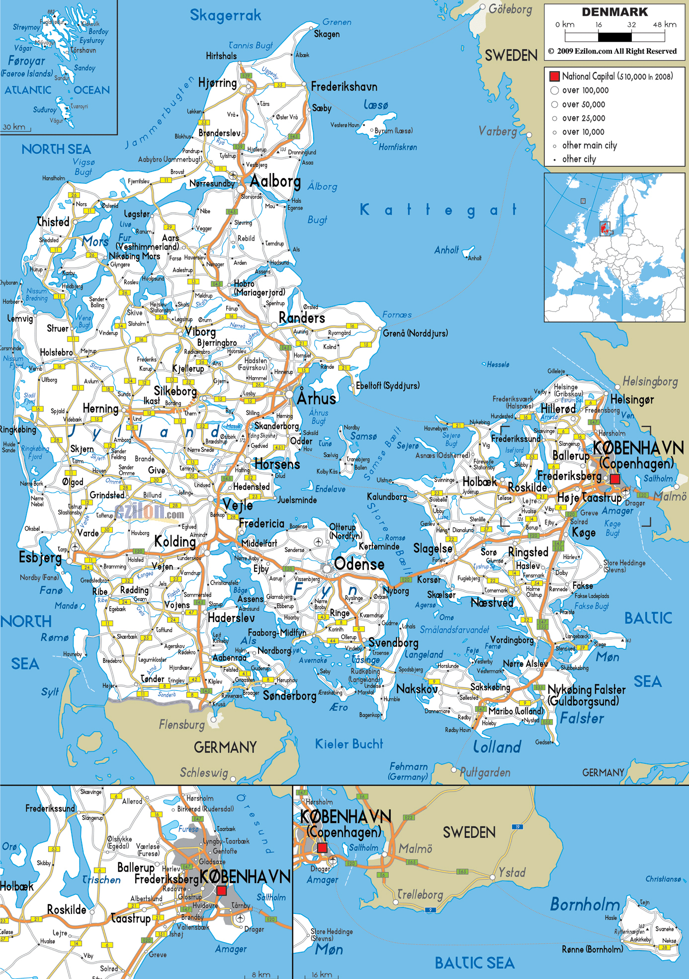 Large detailed road map of Denmark with all cities and airports