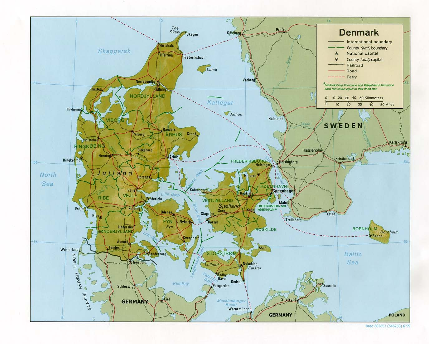 Relief and administrative map of Denmark Denmark relief and