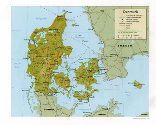 Relief and administrative map of Denmark. Denmark relief and administrative map.