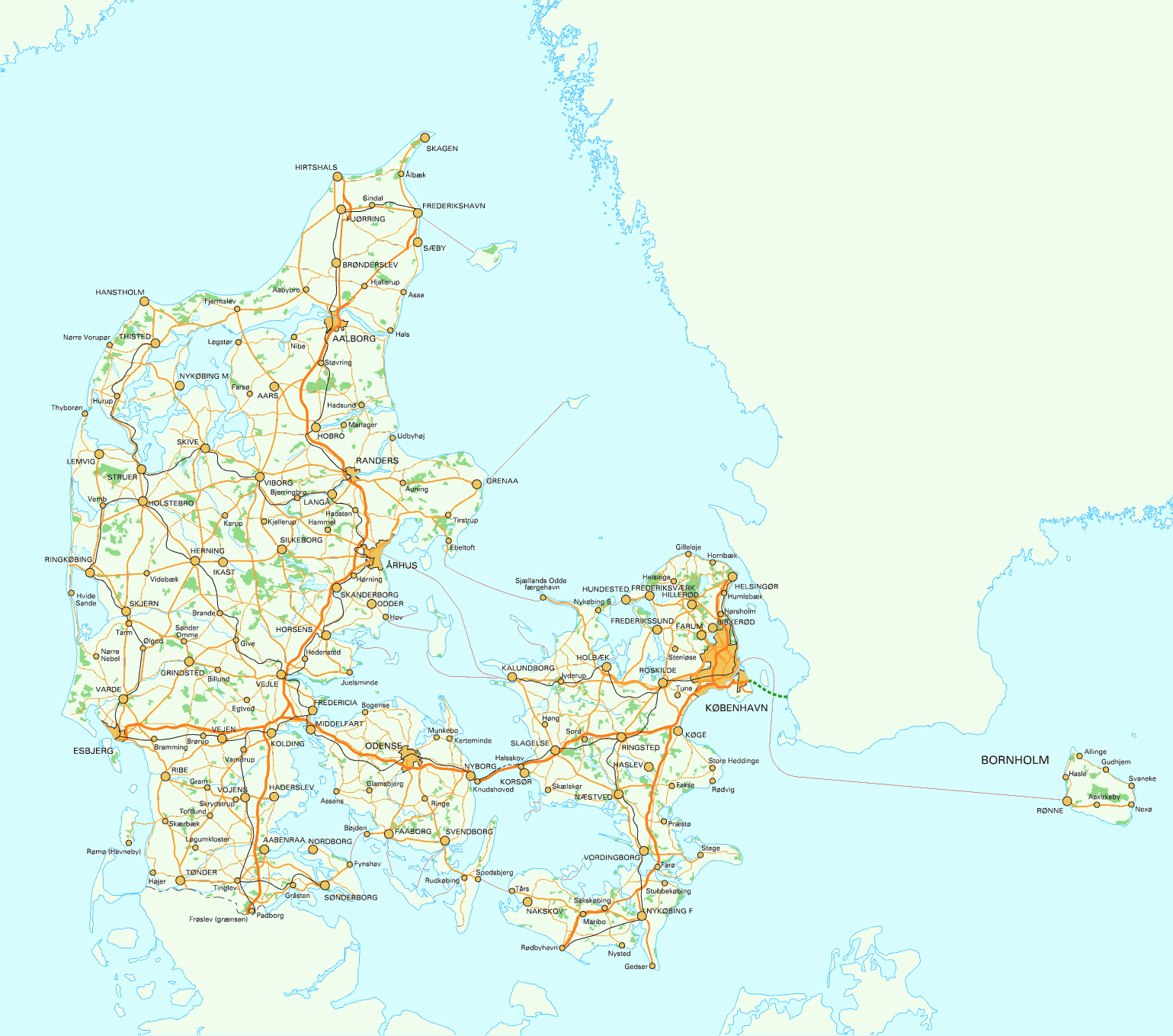 Road map of Denmark. Denmark road map | Vidiani.com | Maps of all ...