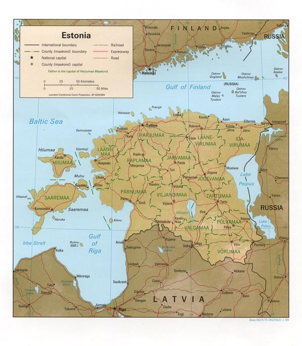 Detailed administrative map of Estonia. Estonia detailed administrative map.