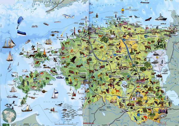 Detailed tourist map of Estonia. Estonia detailed tourist map.
