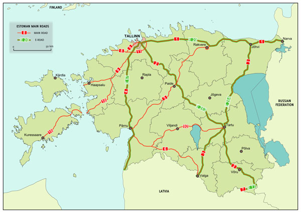 Large detailed main roads and e-roads map of Estonia.