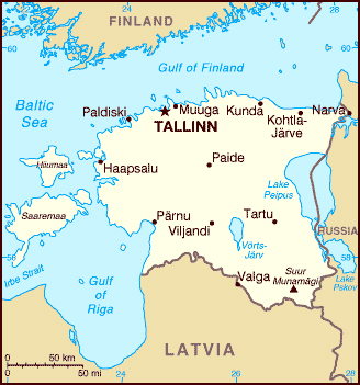 Small map of Estonia. Estonia small map.