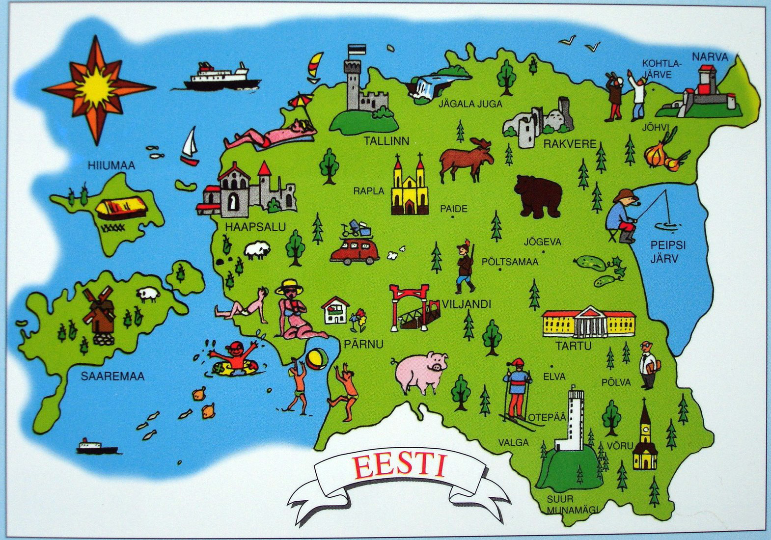 Tourist illustrated map of Estonia Estonia tourist illustrated map
