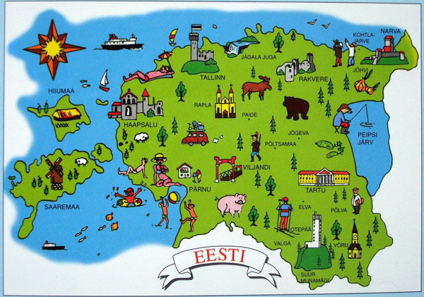 Tourist illustrated map of Estonia. Estonia tourist illustrated map.