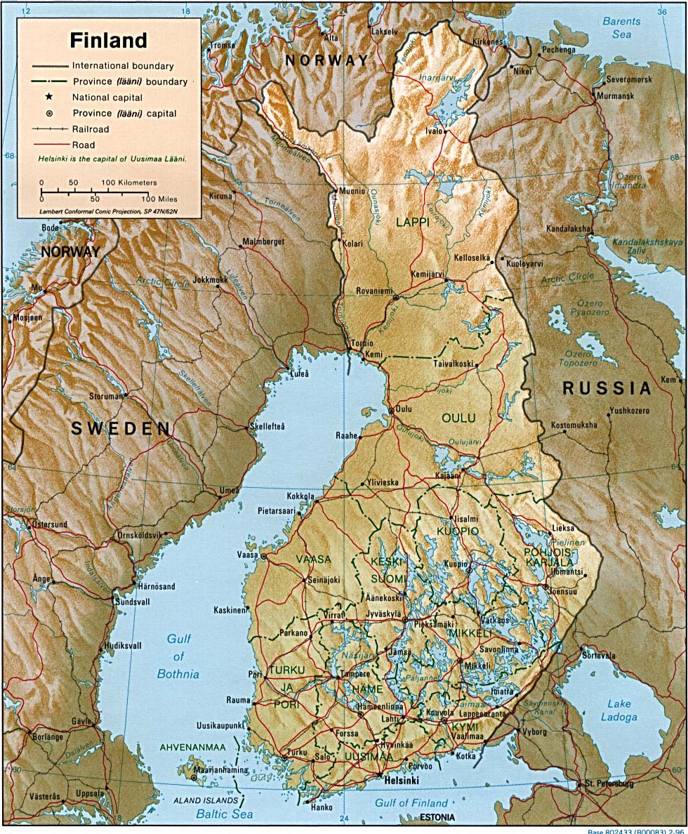 Detailed administrative and road map of Finland Finland detailed