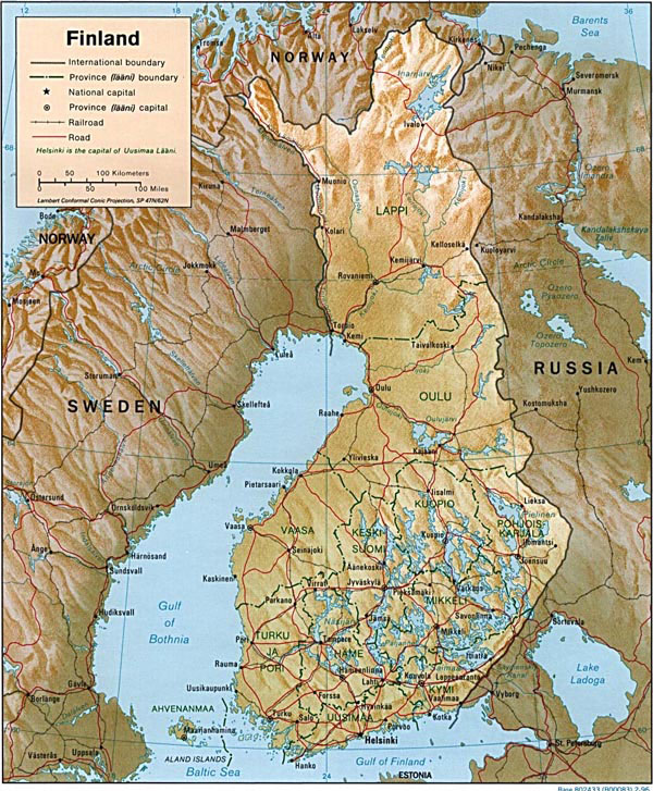 Detailed administrative and road map of Finland.