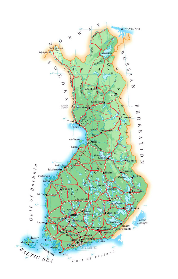 Detailed physical map of Finland. Finland detailed physical map.